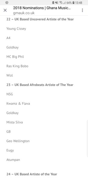 GoldKay Grabs Two Nominations At Ghana Music Awards UK 2018